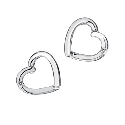 Hot Diamonds Just Add Love Stud Silver And Diamond Earrings