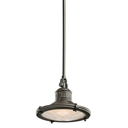 Kichler Lighting 42436OZ 1-Light 60-Watt Sayre Incandescent Pendant with Fresnel Lens, Old Bronze
