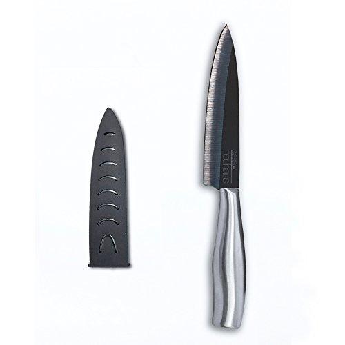 Casa Neuhaus Black Series Ceramic Knife - 5 inch Utility Knife - Black Ceramic Blade & Stainless Steel Handle - Includes Knife Sheath and Black Series Gift Box     Pure Komachi