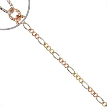 14k Tricolor Gold, Sparkly Textured Finish Classic