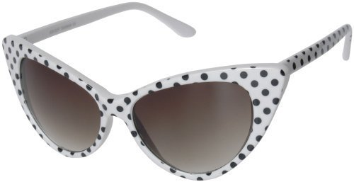Retro Cateyes Vintage Style Polka Dot Cat Eye Sunglasses (White)