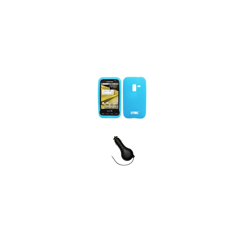EMPIRE Sprint Samsung Conquer 4G Light Blue Silicone Skin Case Cover + Retractable Car Charger (CLA) [EMPIRE Packaging]