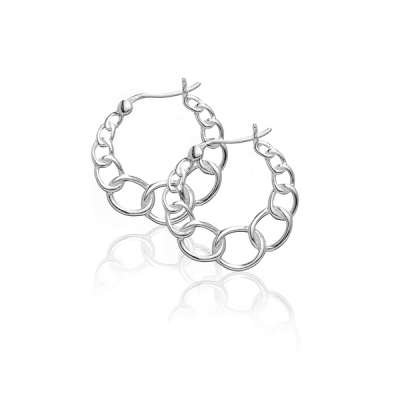 New Earrings Jewelry 925 Sterling Silver Small size and Large Circle Link Hoop Design(WoW !With Purchase Over $50 Receive A Marcrame Bracelet Free)