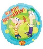 "Phineas and Ferb 18"" Happy Birthday Mylar Balloon Party Supplies"