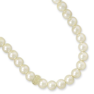 Bridal 12mm Imitation Cream Pearl Necklace with Crystal Accent Bead Sterling Silver, Made in the USA