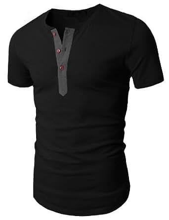 Doublju Men's Henley T-Shirt w/ Short Sleeve, Black, ASIA M (US S)