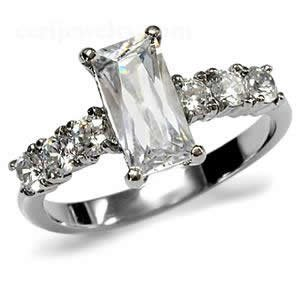 Stainless Steel CZ Baguette Engagement Ring Size 6/7/8/9/10 (6)