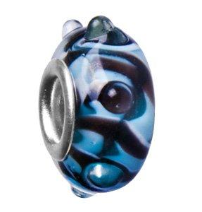 Kult-Schmuck! Bead Glasbead mit schwarz mit hellblauen Streifen