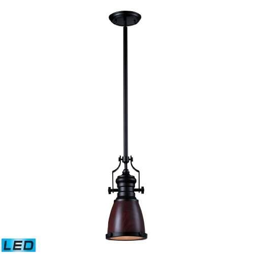 Chadwick 1 Light Pendant In Dark Walnut And Oiled Bronze - Led Offering Up To 800 Lumens (60 Watt Equivalent) With Full Range Dimming. Includes An Easily Replaceable Led Bulb (120V).