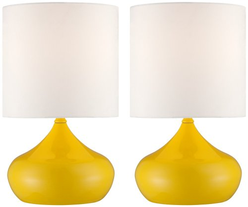 Set Of 2 Steel Droplet Canary Yellow Small Accent Lamps front-1040858