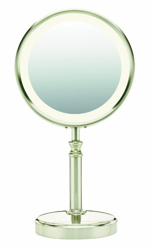 Conair Double-Sided Fluorescent Mirror, Satin Nickel Finish (Lighted Vanity Mirror Conair compare prices)