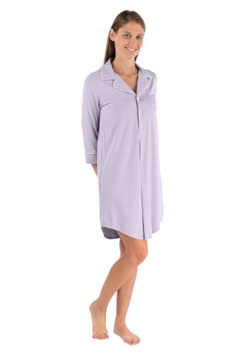 Women'S Bamboo Sleep Shirt 3/4 Sleeve Nightshirt Clothing For Her Wb0475-Lvf-L front-892134