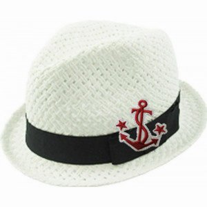 c668721dbf5b0 Toddler Kid s White with Anchor Patch Straw Fedora Hat Cap