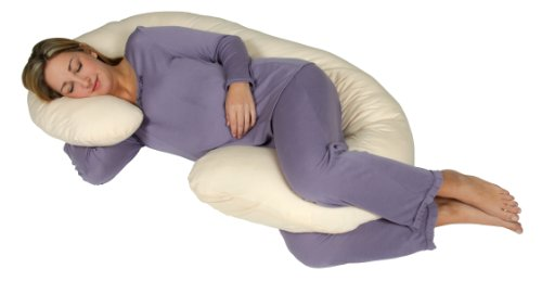 Snoogle Chic Jersey - Snoogle Total Body Pregnancy Pillow with 100% Jersey Cotton Knit Easy on-off Zippered Cover - Sand