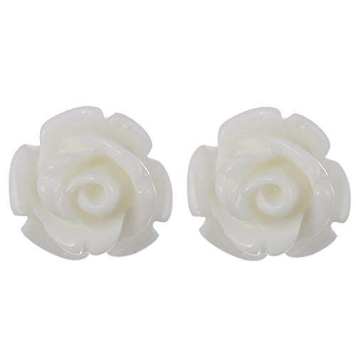Areke Stud Resin Coral Earrings - Rose Flower Earring Piercing Costume Jewelry Set of 6 Pairs (White Resin Earrings compare prices)