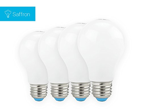 Saffron 6W (40W Replacement) Led Bulb, Non-Dimmable, 3000 K, Looks Like Incandescent Bulb, 4 Pack