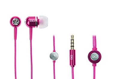 In Earphones Headphones with MIC MP3 Controller + Swarovski elements - PINK BASSBUDS
