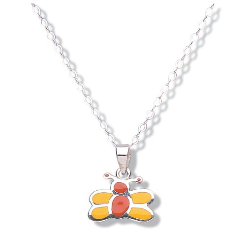 Jo for Girls Silver Children's Yellow and Orange Enamel Butterfly Pendant on 14' Chain