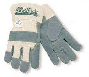 MCR Safety 16010M Side Kick Cow Leather Sewn Kevlar Palm Gloves with 2-1/2-Inch Safety Cuff, Natural Pearl, Medium