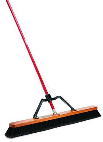 "Libman Commercial 850 Smooth Surface Heavy Duty Push Broom, 65"" Length, 36"" Width, Black/Red (Pack of 3)"