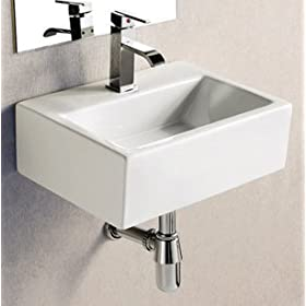 ELITE SINKS EC9859 Porcelain White Wall-Mounted Rectangle Sink