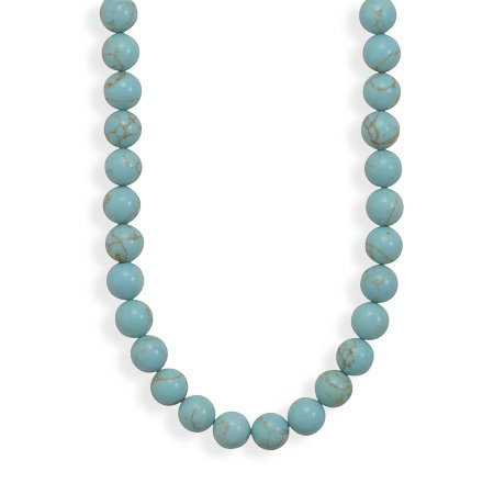 Reconstituted Turquoise Bead Necklace