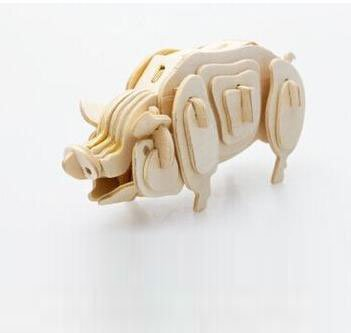 Qiyun 3-D Wooden Puzzle- Children and adult's educational building blocks puzzle toy Pig model