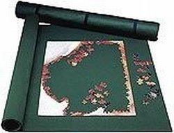 Puzzle Mat Roll o Puzzle 24x36 Inch Stow and Go Green Felt with End Caps for More Storage