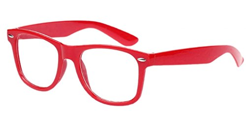 Bigood Retro Vintage Lens Frame Wayfarer Trendy Nerd Geek Glasses Red Clear