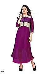 Sky Up Women's Georgette Embroidered Purple Salwar Suit