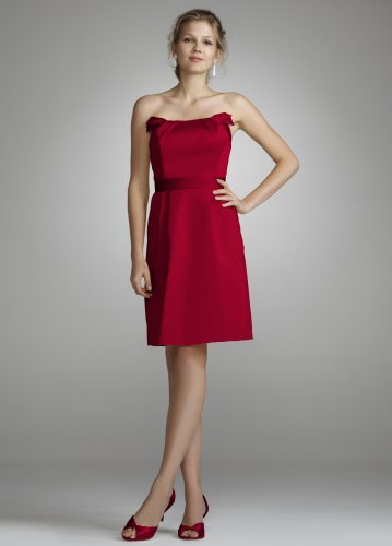 David's Bridal Bridesmaid Dresses Short Strapless Cotton Dress with Band at Waist Style 84725, Apple, 14