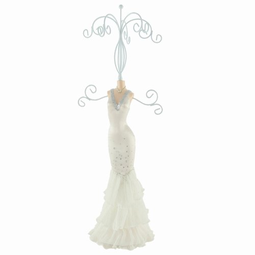 Bridal gown jewelry stand v neck white 17 h jewelry for Necklace for v neck wedding dress