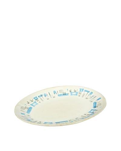 2 B Modern 1960s Oval Platter, Turquoise/White