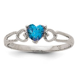 Genuine IceCarats Designer Jewelry Gift 14K White Gold Blue Topaz Birthstone Ring Size 6.00
