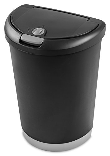 Sterilite 10719004 12.3 Gallon Locking TouchTop Wastebasket, Black Lid & Base w/ Titanium Latch & Lock, 4-Pack (Locking Trash Can compare prices)