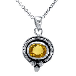 Sterling Silver, Citrine Pendant with Chain (1.25 ctw)(Nickel-Free)