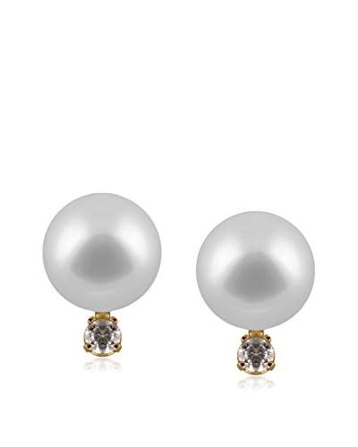 Splendid 6-6.5mm White Akoya Pearl & Diamond Stud Earrings