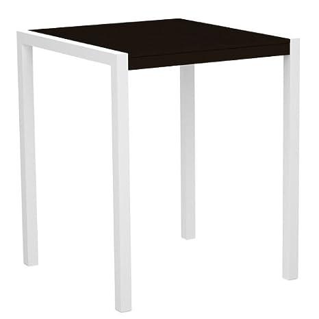 "POLYWOOD 8102-10MA MOD 36"" Bar Table, Gloss White/Mahogany"