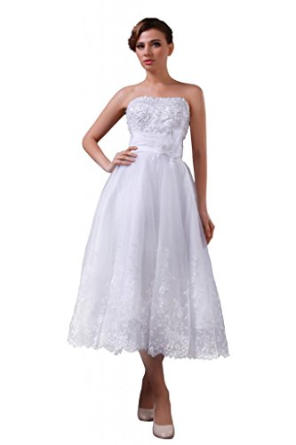 Changjie Women'S Tea Length Strapless Lace Appliques Organza Wedding Dress Size 18 Ivory
