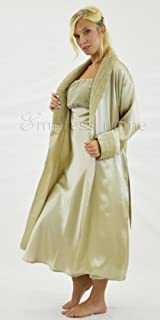 Silk Long Robe and Matching Long Slip Set with Velvet Accents - Pebble