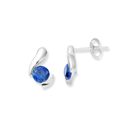 Gold Earrings, 9ct White Gold, Created Sapphire Studs, by Miore, UNI005E2W