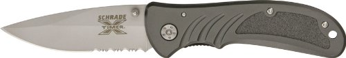 Schrade Sch100S Linerlock Folding Knife With Bead Blasted 40% Serrated Bladeand Gray Anodized Aluminum Handle