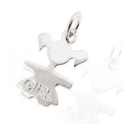 Sterling Silver Girl Pendant or Charm. 925 Authentic Sterling Silver