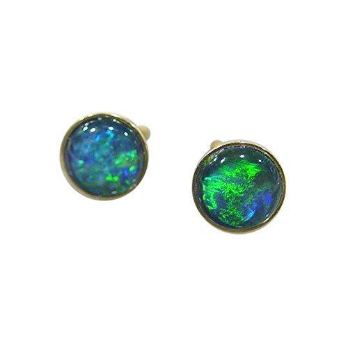 Schmuck-Michel Damen Ohrstecker Gold 585 Opal-Triplette blau-grün 8 mm (2188) günstig online kaufen