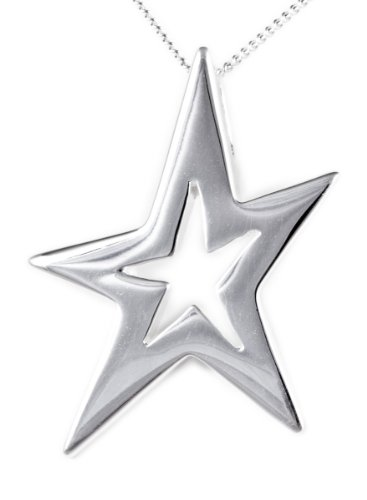 Silver Plain Star Pendant on 46cm Curb Chain