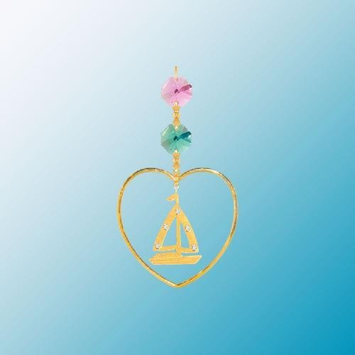 24K Gold Plated Hanging Sun Catcher or Ornament..... Sailboat with Mixed Color Swarovski Austrian Crystal in a Heart