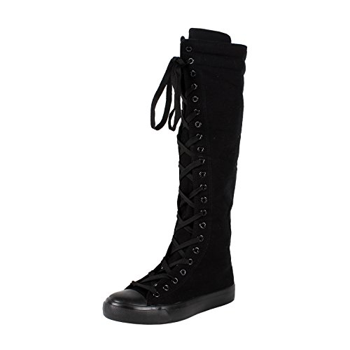 Women's Tall Canvas Lace Up Knee High Sneakers BK 8.5 (Knee High Shoes compare prices)