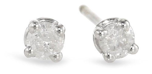 Boxed Sterling Silver Diamond Stud Earrings (1/10