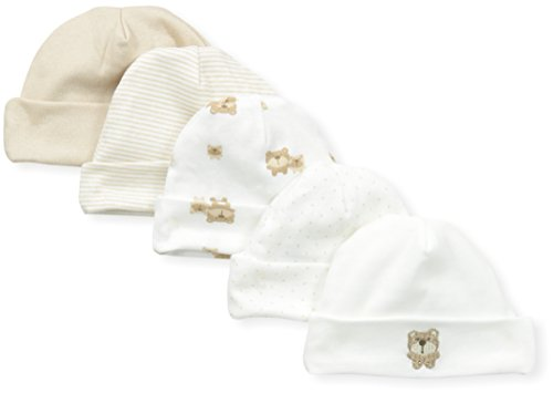 Gerber Unisex-Baby Newborn 5 Pack Caps Bear, Brown, 0-6 Months (Newborn Cap compare prices)