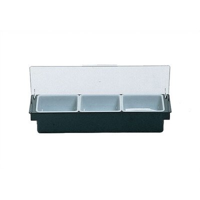 Rubbermaid Commercial Products 6-Compartment Condiment Dispenser Tray with Hinged Lids, Quarts, Black (FG289100BLA) (Hinged Lid Plastic Pot compare prices)